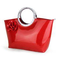 красная сумочка из лакированной кожи оптовых-Оптовая роскошные красные сумки женщины сумка дизайнер бренда лакированная кожа сумки Сумка дамы большой свадьба вечерние сумки мешок основной 2018New