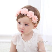 Wholesale hairpiece wholesale - Baby Lace Headbands Flowers Chiffon Flower Hairbands Bandage Lace Girls Headwear Hairpiece Children Hair Accessories KHA564