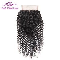бразильские человеческие волосы 22 дюйма оптовых-Soft Feel Hair Brazilian Kinky Curly Closure 4x4 Human Hair Lace Closure Free Part Non Remy Natural Color 10-22 Inch