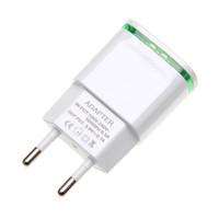 зарядные устройства для iphone оптовых-U / США Plug 2 порта LED Light USB зарядное устройство 5 в 2.1 A адаптер для настенного мобильного телефона Micro Data зарядка для iPhone Samsung Xiaomi 100 шт. / лот