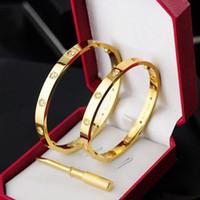 miao silberne armbänder großhandel-New Style Silber Rose 18 Karat Gold 316L Edelstahl Armreif mit Schraubendreher und original Box Schrauben nie verlieren
