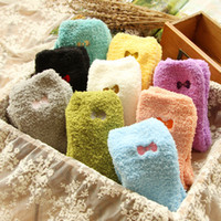Wholesale solid green bedding online - New Women Winter Women Ladies Soft Warm Fluffy Bed Socks Thickening Velvet Bow Thermal Sokken Cute Socks Calcetines Mujer