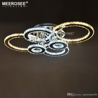 кольцо с бриллиантами оптовых-Современные светодиодные люстры свет из нержавеющей стали Кристалл лампы для гостиной Спальня бриллиантовое кольцо светодиодные люстры Lamparas де techo освещение