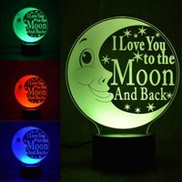 Wholesale I Lamp - LED Table Lamp Colourful 3D Nightlight I Love You To The Moon And Back 31rm C R