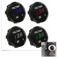 Wholesale instruments meter resale online - 12V Mini Round Panel LED Digital Display Voltmeter Meter For Motorcycle Car Boat Instruments Colors AAA1009