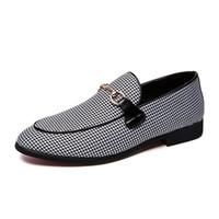 Wholesale comfort career shoes online - 2018 New Autumn Canvas Leathable Lazy Men s Dress Shoes Casual Lok Fu Male Peas Shoes England Comfort Footwear Bran Designers