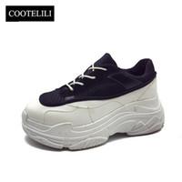 lianes zapatos achat en gros de-COOTELILI Printemps Femmes Baskets Plate-forme Chaussures Femme Casual Escarpins Dames À Lacets Creepers Zapatos Mujer Augmenté Interne
