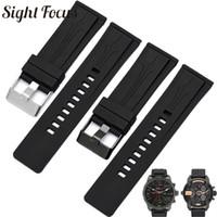 силиконовый резиновый браслет ремешок для часов черный оптовых-Rubber Silicone Men Watchband for  DZMC0001 Series Watch Accessories 26mm Black Watch Strap Male Belt Masculino Bracelets