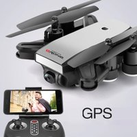 hd mini helikopter kamera toptan satış-Mini S9 Folden GPS Drone 2.4G 4-Axis Uzaktan Kumanda RC Helikopter Drone Ile 2MP / 5MP Wifi HD Kamera Drones GPS uçak
