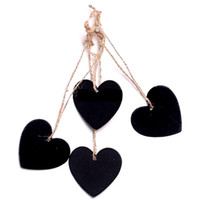 Wholesale mini message chalkboard - Mini Hanging Chalkboard Memo Tags Heart Round Shape Board Message Blackboard Wooden Hanging Decoration DIY Wood Crafts