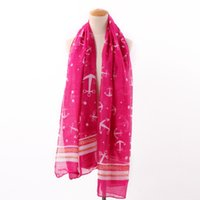 швартовный платок оптовых-горячие продажи новая мода морской старинные Военно-Морского флота морской якорь печатных хлопок вуаль шарф шаль длинные Wrap