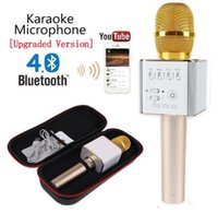 mikrofon karaoke android großhandel-Magic Q9 Bluetooth Wireless Mikrofon Handheld Microfono KTV mit Lautsprecher Mikrofon Lautsprecher Karaoke Q7 Upgrade für Android-Handy DHL