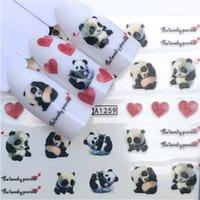 ingrosso nail china-2 fogli China Pandas Nail Art Stickers Lovely Heart Nail acqua decalcomanie Charms 3d Forniture Nailart Fai da te Cartoon Animal Decors