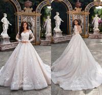 Wholesale White Wedding Corset Bodice - New Design 2018 Gorgeous Arabic Long Sleeves Wedding Dresses Sheer Neck Full Lace Appliqued Corset Court Train Bridal Gowns BA9151
