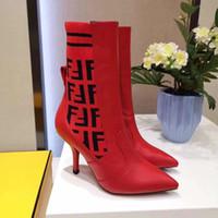 botas marrones para el invierno al por mayor-Las mujeres 2018 nueva moda transpirable botas elásticas calcetín rojo marrón puntiagudo tacón alto de 9.5 CM marca de fábrica de las señoras botas de invierno botines