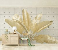 Wholesale sound tiles resale online - Custom Retail d Three Dimensional Golden Relief Banana Leaf Tile Retro TV Background Wall Banana Freehand Mural