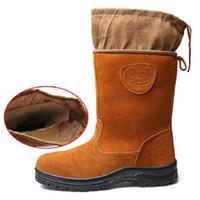botas de media hombre al por mayor-AMSHCA Botas de seguridad para hombres con punta de acero Botas de gamuza y gamuza de vaca Zapatos de invierno de felpa Nieve Zapatos a prueba de pinchazos indestructibles