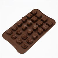 Wholesale love box cake - Home baking tools rose love shape cake mold gift box chocolate pudding jelly handmade silicone mold D0130