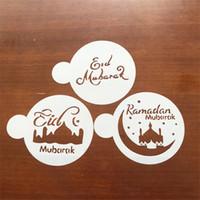 kek püskürtme toptan satış-Yaratıcı Kek Dekor Stencil PET Camii Eid Mubarak Ramazan Tasarım Fondan Kahve Püskürtme Dekorasyon Aracı Kesici Kalıp 2 2cd YY