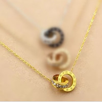 Wholesale clavicle ring - 925 sterling silver plated rose gold double ring necklace female ring with diamond letters love pendant gold color clavicle chain silver