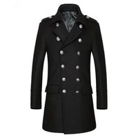 Wholesale Trench Dark Blue - Tailor-made men Autumn and winter business thick and leisure double-breasted middle-aged male wool long trench coat