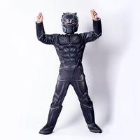 ingrosso stella nero-Ragazzi Halloween Black Panther stile muscolare Cosplay abiti 2018 Nuovi bambini Avengers costume cosplay vestiti + maschera 2pcs set B