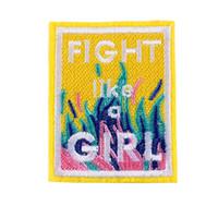 applikation hut großhandel-1 Stück Kampf wie ein Mädchen Chic bestickt Nähen Eisen auf Patches Abzeichen Hut Tasche DIY Stoff Applique Kleidung Handwerk