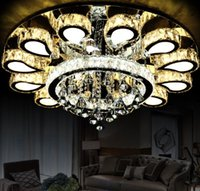 Wholesale Crystal Chrome Ceiling Lights - Modern Lustre Crystal Led Ceiling Chandeliers Light Fixtures Chrome Steel Living Room Dimmable Led Chandelier Lighting Luminaria LLFA