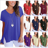 Wholesale thin cotton shirts - Spring Summer Sexy Women V-Neck Spilt T-shirt Thin Cotton Tee Unregular Length Short Sleeves Female Top