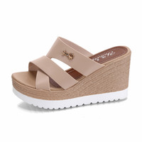 Wholesale hollow out wedge sandal - Women's Shoes PU Summer Comfort Slippers & Flip-Flops Sandals Walking Shoes Wedge Heel Open Toe Hollow-out for Black Beige Pink