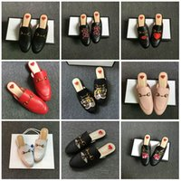 Wholesale Free Mules - Luxury leather loafers Muller slipper shoes with buckle Fashion women Princetown slippers Ladies Casual Mules Flats New Free shipping