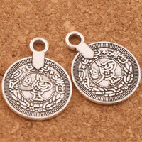 Wholesale antique coin pendant - 122pcs lot Antique Silver Boho Coin Charm Beads Metal Pendants L1801 23x17.5mm Bohemian Tassel Necklace Jewelry DIY LZsilver