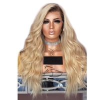 свободные волосы парики оптовых-Бесплатная доставка волнистые Ombre T1B 613 светлые парики фронта шнурка предварительно сорвал с волосами младенца 150% 180% 250% плотность человеческих волос парики