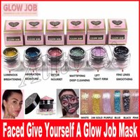 Wholesale Glitter Masks - New 6 colors Radiance Boosting glow job mask Glitter face mask with real gold 30 minutes relaxing smooth soft facial reveal 50ml