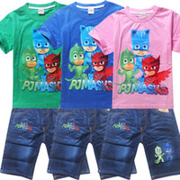 Wholesale Girls Shirt Jeans - 2017 fashion PJ MASKS Cartoon Printed Summer T-Shirt Children Clothing sets Cotton Boys Girls jeans sport suits Kids Costume