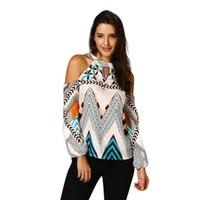 bohemia t shirt toptan satış-Yaz kadın t shirt 2018 Kadın Kapalı Omuz Retro Geometri Bohemia Tişört Camisetas mujer Tops