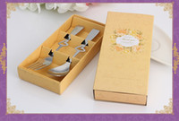 Wholesale wedding favors fork spoon resale online - Heart Shape Stainless Steel Fork Spoon Dinnerware Set Tableware Wedding Favors and Gifts for Guest wen7064