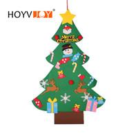 pequenas decorações de árvore de natal venda por atacado-HOYVJOY Pequeno Sentiu a Decoração Da Parede De Mesa de Árvore De Natal Colocado Na Mesa de Natal Decoração de Festa de Natal Em Casa 106 * 70 cm