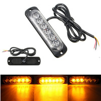 18W 6LED Branco Amber Car Front Grille Light Lâmpada Flash Flashing Auto Strobe Emergency Warning Light LED luzes de estacionamento do carro