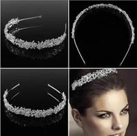 kız için gelin tacı toptan satış-Moda Düğün Saç Takı Kızlar Rhinestone Blingbling Gelin Başlıklar Taç Rhinestone Gümüş Gelin Saç Aksesuarları Düğün için