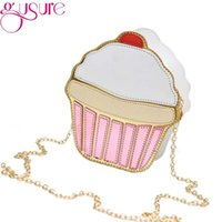 Wholesale ice cream purse - Wholesale- Gusure 2017 Women Cute Purse Handbags Chain Messenger Bag Party Bag CUTE!Funny Ice Cream Cake Bag Small Crossbody Bags