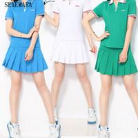 Wholesale Ladies Thin Skirts - Wholesale-Sexemara New tennis women skorts girl badminton skirt ladies tennis sport skirts shorts thin