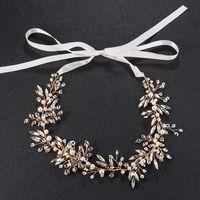 schmuck boho stirnbänder großhandel-Handgemachte Perle Kristall Braut Haar Rebe Schmuck Gold Braut Boho Kopfschmuck Stirnband Zubehör JCG023