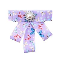 ingrosso colletto di bowtie-2018 New Spring Design Colorful Farfalle Tessuto Bowtie Girl`s Collar Clip Spilla Accessorio di moda