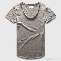 6bf9bb09 slim fit scoop neck t shirts 2019 - Wholesale- Plain Basic Top Tees Men  Casual