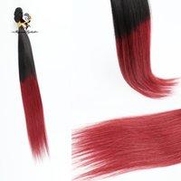 bordo ombre örgü toptan satış-Stok Düz Ombre Saç Örgüleri Renk 1B / 99J Siyah brezilyalı bordo iki tonlu remy saç dokuma