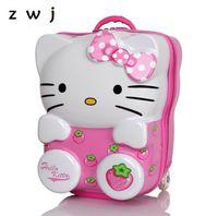 mochila para crianças hello kitty venda por atacado-Mala de viagem da trouxa do estudante Hello Kitty de 13,18 polegadas nas rodas para crianças, bagagem do rolamento da criança das meninas