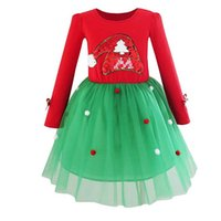 Wholesale girl christmas hat for sale - Baby girls Dress Long sleeve Sequin christmas hat dress children Pompom Tutu lace Tulle princess dresses Autumn kids Clothing GGA1040