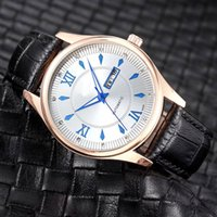 Wholesale Boys Red Waterproof Watches - New Classic waterproof Top brand men Luxury Wristwatch Day Date Fashion Quartz Watches Leather strap Watch for mens boy male water resistand