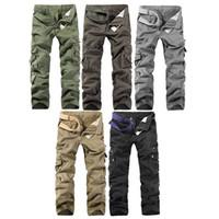 zipper pocket sweatpants venda por atacado-Carga Calças Homens Algodão Muitos Bolsos Corredores Mid Zipper Cintura Reta Calças Homens Quatro Estações Causal Sweatpants